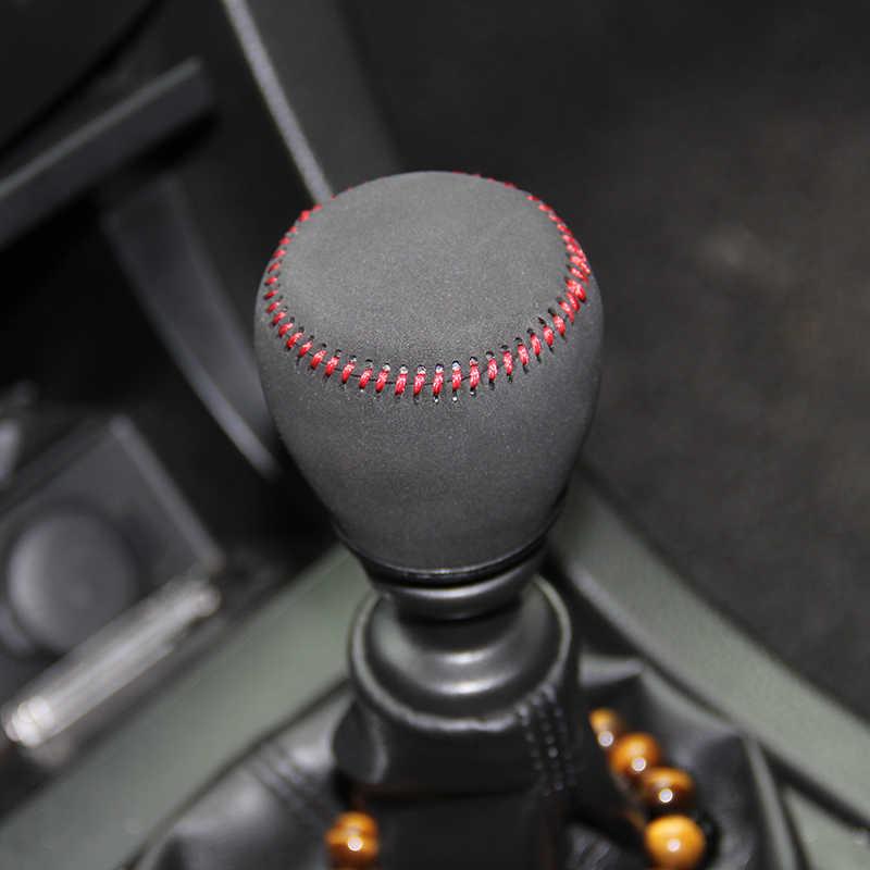 Botão da engrenagem de Couro genuíno capa Para Suzuki Kizashi Suzuki Swift MT NZ 2013 tampa do botão do deslocamento de engrenagem do carro engrenagem vara caso ppc