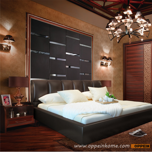 OPPEIN Hot Sell Cherry Wood Bed  / soft bed/double bed king/queen size bed hot sale style OP-SH685 european style best sale home used king size sex bed frame furniture