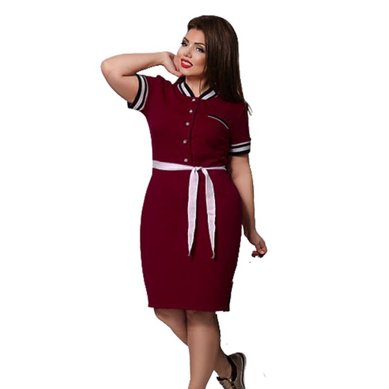 2018 new designer dress women plus size big size knee