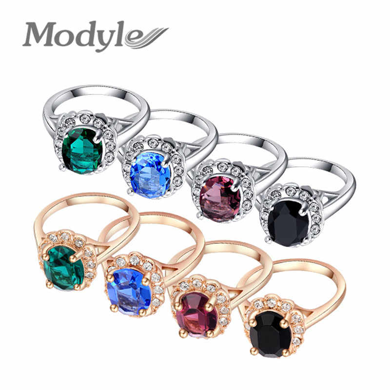 Modyle Brand Black/Blue/Green/Purple Crystal Big Rings For Women Gold-Color Ring Fashion Jewelry Nickel Free