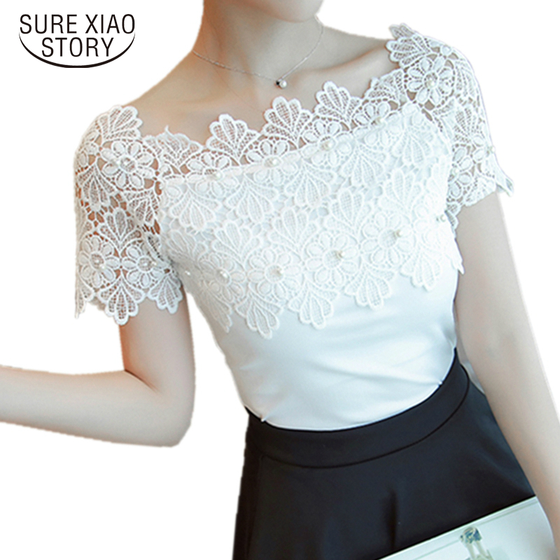 Sexy Short Sleeve White   Blouse   Ladies Hollow Elegant   Blouses   Women Lace Patchwork   Blouse     Shirt   Casual Women Top 80F 30