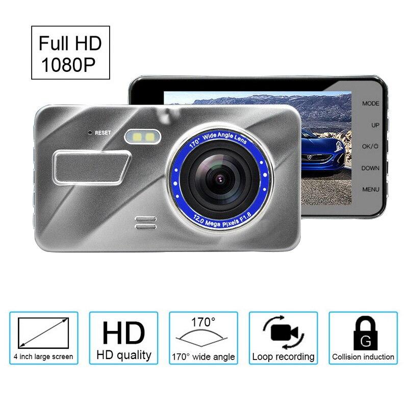 """Samochód kamera DVR 170 stopni szeroki kąt Full HD 1080 P 4 """"IPS przód tył G czujnik monitor do parkowania dash Cam lustro rej"""