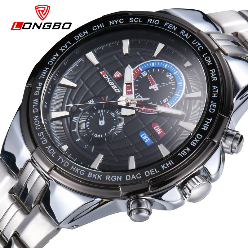 LONGBO Brand Fashion Sport Watches Men Stainless Steel Wristwatch Dress Waterproof Male Analog Quartz Watch Relogio Masculino