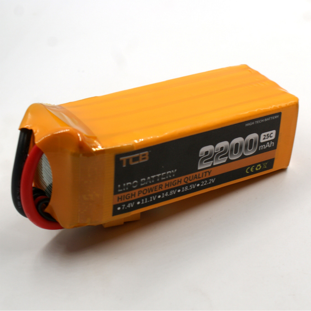 TCB RC lipo battery 6S 22.2 V 2200 mAh 25c for rc airplane  quadrocopter RC helicopter lipo battery  free shipping 1s 2s 3s 4s 5s 6s 7s 8s lipo battery balance connector for rc model battery esc