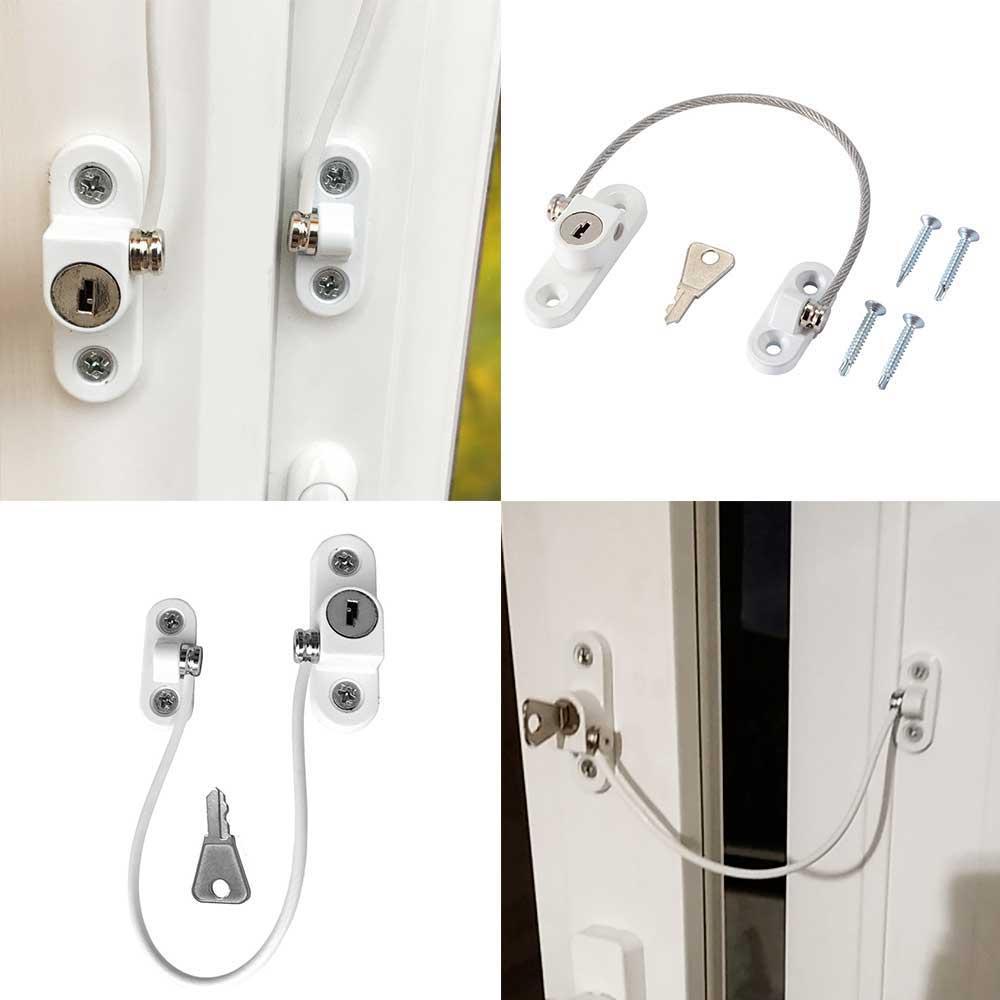 Baby Safety Locks Window Door Cable Ventilator Stainless Steel Door Window Limit Lock Child Security Locking Keyed Window Locks