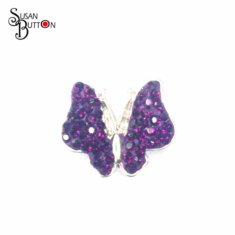New Purple rhinestone butterfly Snaps Button Polymer Clay Snap Buttons for leather Bracelets SJSB067