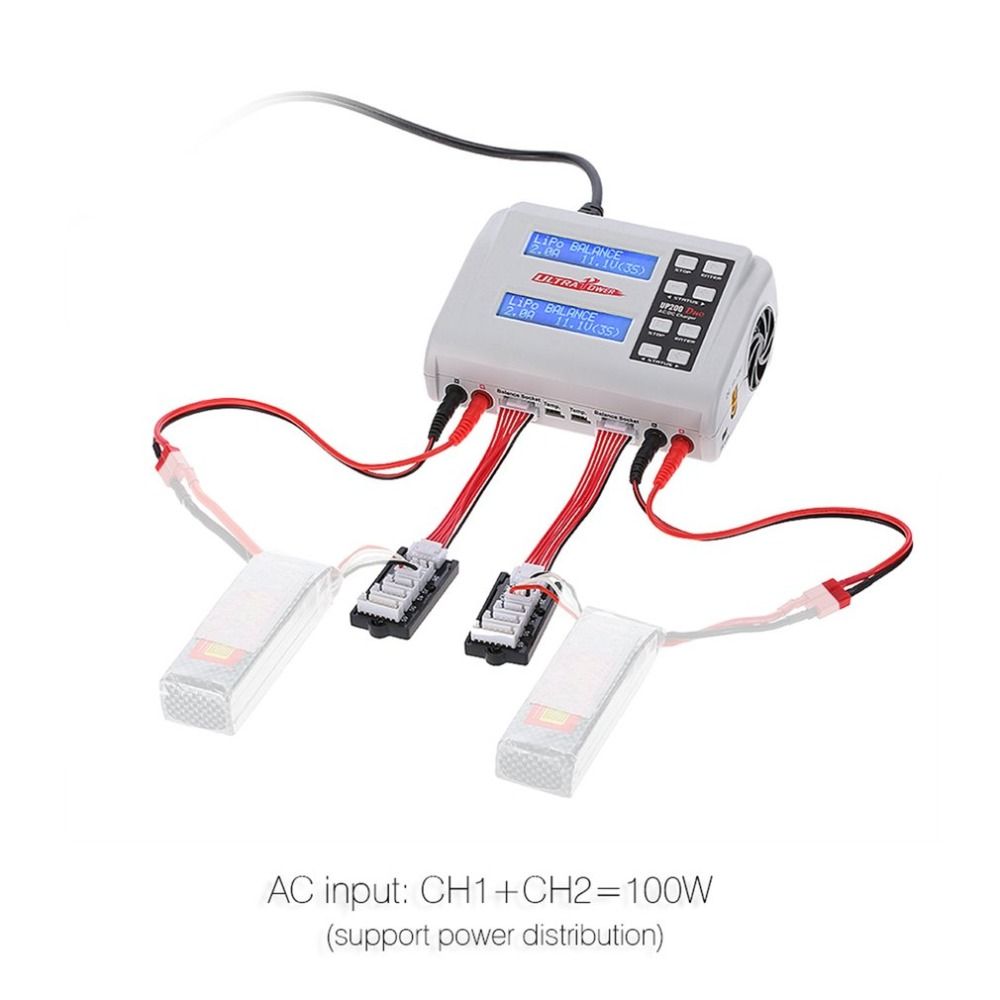 Ultra Power UP200 DUO 200W 10A AC / DC Battery Balance Charger / Downloader for LiPo LiFe Lilon LiHV NiCd NiMh Pb RC Battery HOT skyrc rc car drone b6 nano smart balance charger discharger app control for lipo lihv life lilon nicd nimh pb rc boat battery