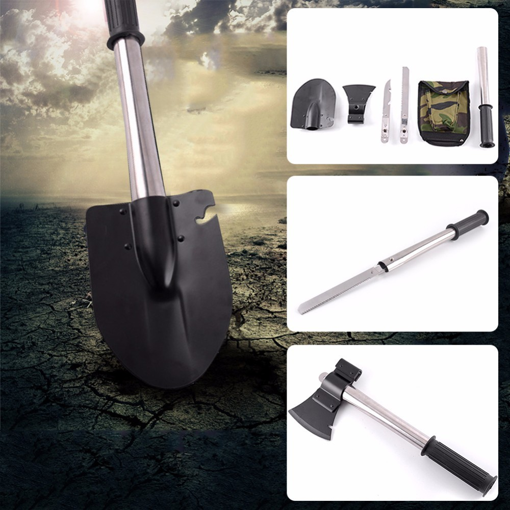 4-in-1 Multi-function Military Portable Folding Camping Shovel Survival Spade Trowel Dibble Emergency Garden Travel Kits Outdoor professional military tactical multifunction shovel outdoor camping survival folding portable spade tool equipment hunting edc
