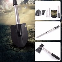 4 In 1 Multi Function Military Portable Folding Camping Shovel Survival Spade Trowel Dibble Emergency Garden