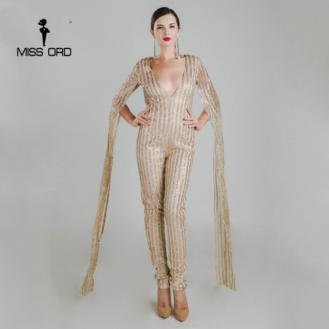 407712a8a855 Missord 2019 Sexy Deep-V cut out long sleeve gold color glitter jumpsuit  FT4682-1