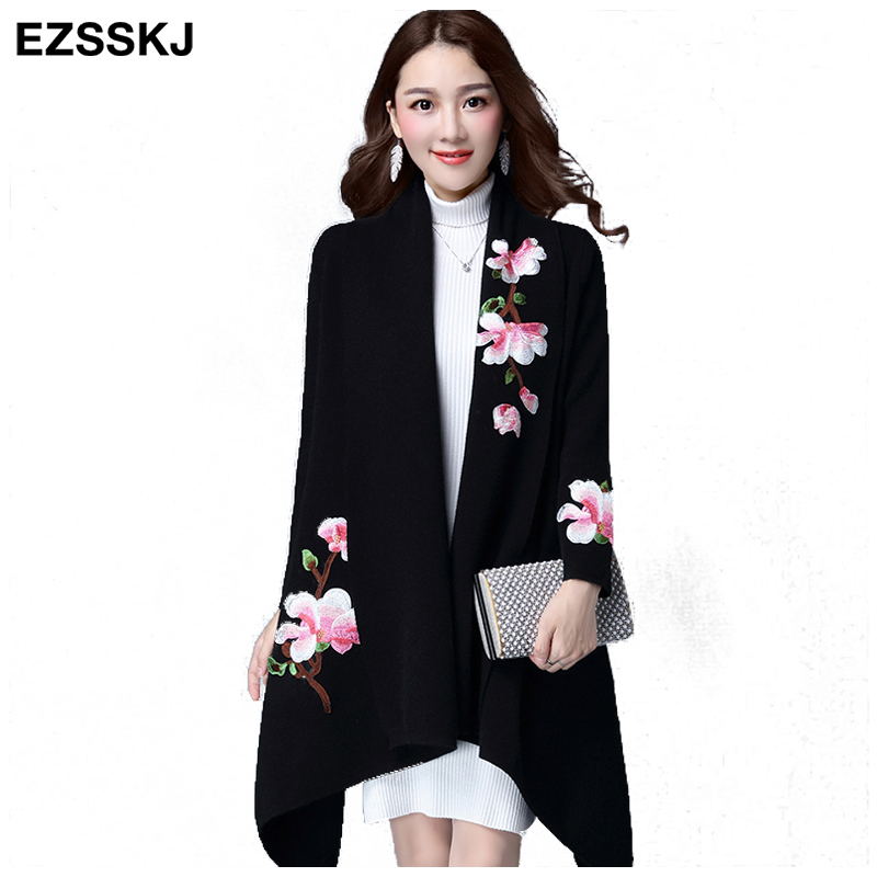 Elegant Cardigans Sweater Cloak Coat Women Floral Embroidery Kimono Autumn Winter Long Female Overcoat Long Sleeve Trench Coat