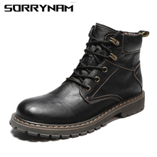 купить Vintage Men Boots Lace-Up Winter Leather Martin Boots Men Waterproof Work Tooling Safety Ankle Boots Casual Shoes Botas Sorrynam по цене 2969.25 рублей