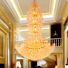 купить Gold Crystal Chandelier Lighting Fixture LED Modern K9 Crystal Chandeliers Home Villa Stair Clubs Hotel Hanging Lights D1m*H1.5m дешево