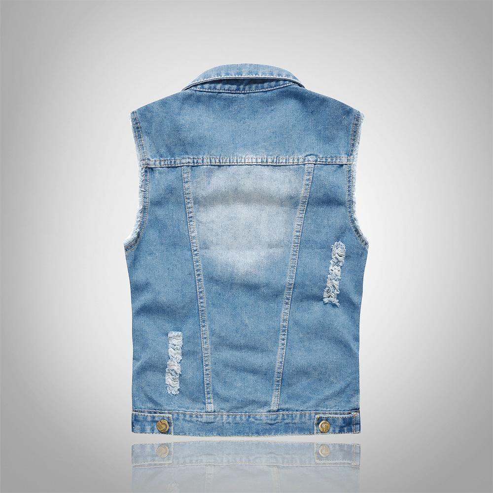 Shujin 2019 Slim Fit Cowboy Male Jacket Vest Ripped Denim Vest Men's Jacket Sleeveless Casual Waistcoat Men's Jean Coat 5xl