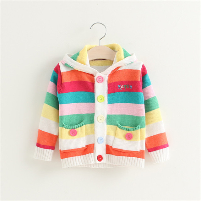 ab9b54d5daa9 Baby Sweaters jacket New fashion Rainbow color Knitted Sweater Boys ...