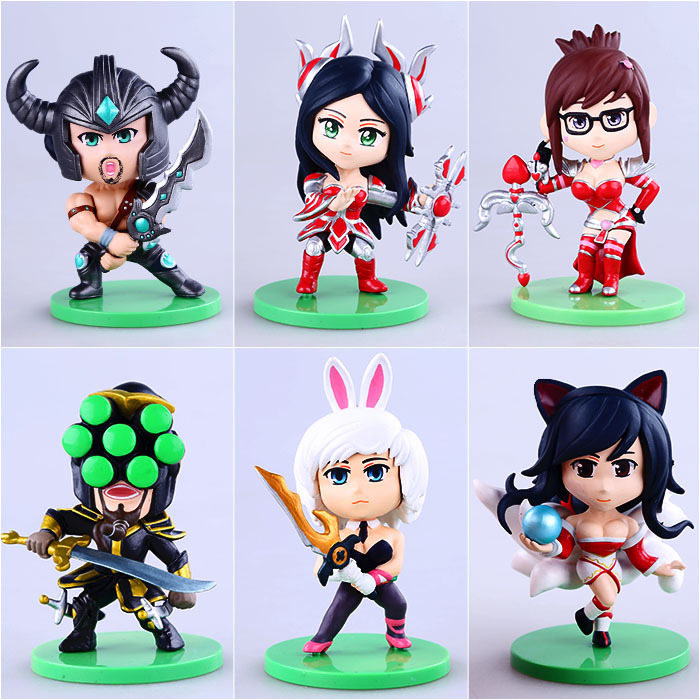 Free Shipping Cute 6pcs Anime Game Ahri Irelia Masteryi Vayne Tryndamere Riven 3rd Boxed 11cm PVC Action Figure Collection Model free shipping 6pcs cute garen xinzhao jarvaniv ezreal leesin sona pvc action figure style keyring key chains 6pcs per set