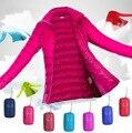 2016 nuevas llegadas 13 colores ligeros chaquetas mujeres plus size slim equipado soporte de cuello escudo moda zip parkas ventas
