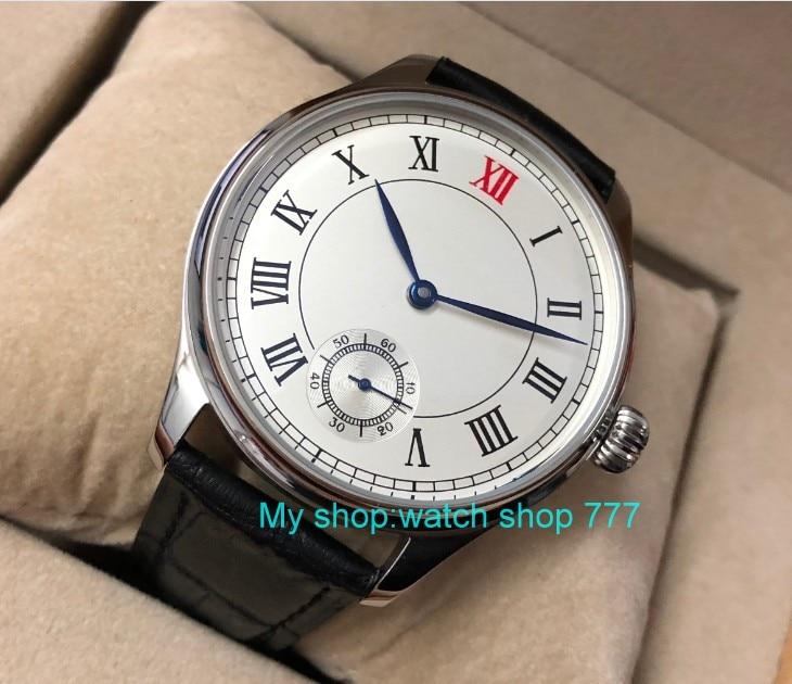 44 millimetri parnis quadrante bianco Asian 6498 17 gioielli Meccanico carica a mano vigilanza degli uomini del movimento numeri Romani orologi Meccanici pa49 8 - 4