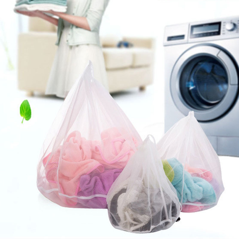 New Laundry Net Bag Drawstring Closure Washing Machine Aid Mesh Bags For Shirts Bra Lingerie Underwear NE
