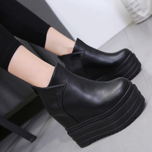 Liren 2019 Summer PU Boots Fashion Cool Lady Wedges High Heels Platform Air Mesh Round Wrapped Toe