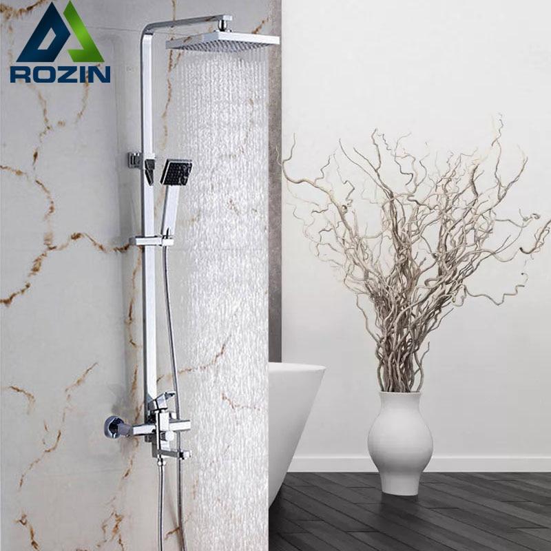 Квадратный хромированный Душ 8 Ванна смеситель для душа набор настенный с ручной душевой поворотной ванной Носик душевой кран