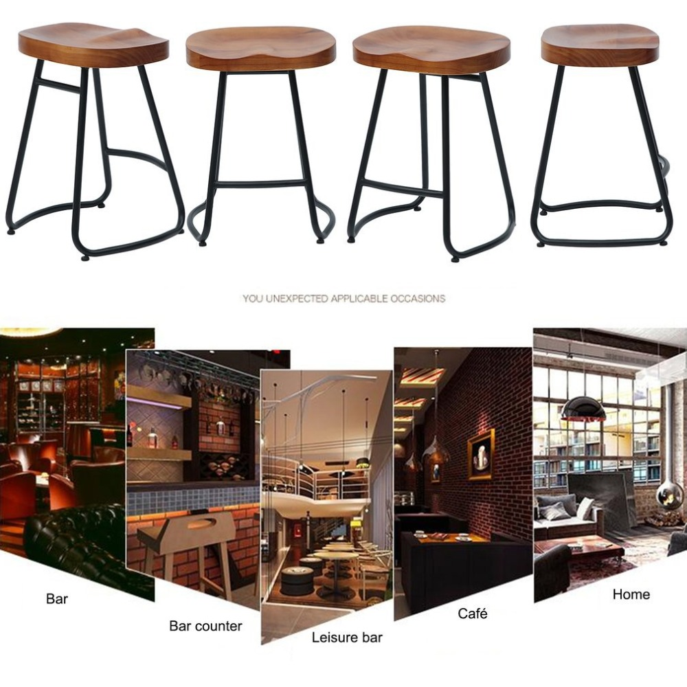 55cm Pub Bar Stool Classic Backless Barstool Vintage Rustic Design Kitchen Wooden Stool Industrial Style Home Furniture holland bar stool co university of florida chrome pub table