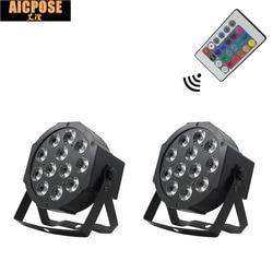 2 einheiten 12*12w lampe mit Fernbedienung 12x12W led Par lichter RGBW 4in1 flache par led dmx512 disco lichter professionelle bühne dj ausrüstung
