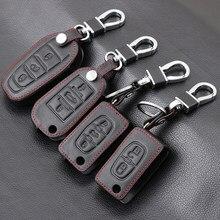 Funda de cuero genuino para llave de coche, llaveros para Citroen C2 C3 C4 C5 C6 C8 Berlingo Picasso Xsara Picasso Aygo remoto