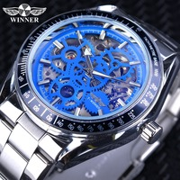 Winner Fashion Blue Military Design Blue Glass Waterproof Mens Automatic Mechanical Skeleton Watches Top Brand Luxury