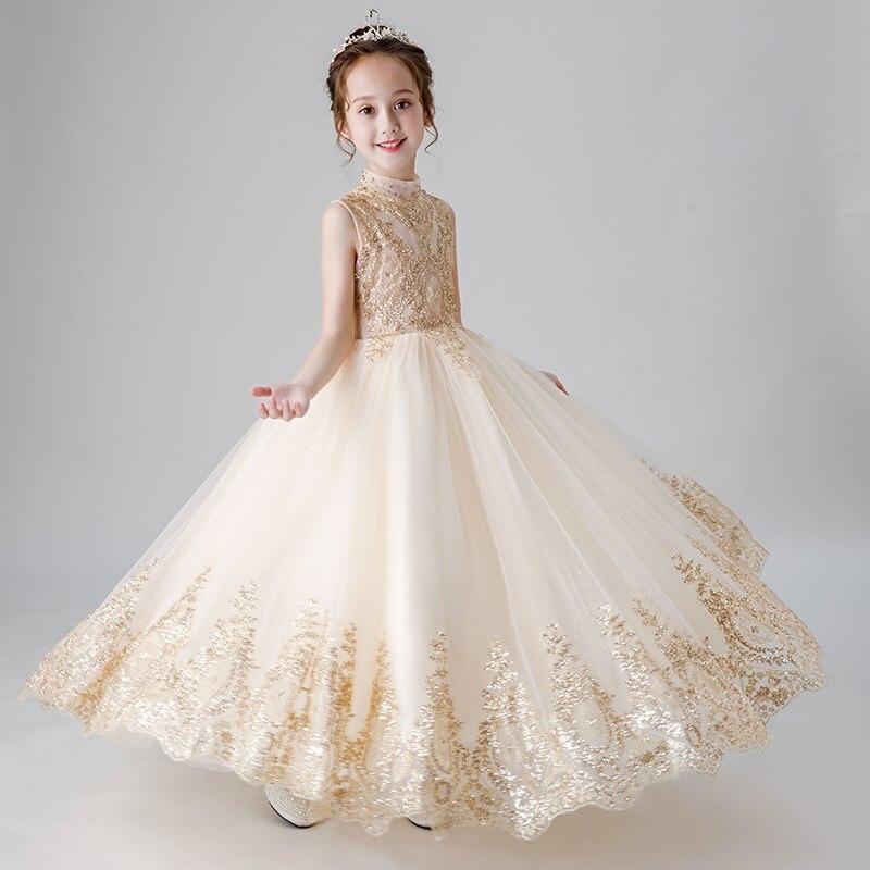 Fille Boutique robe de demoiselle d'honneur robes enfants tenue de fête de mariage robes adolescents demoiselle d'honneur robes de bal perles broderie Drese - 6