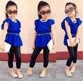 2015 crianças meninas roupas define nova moda casual verão camisa de vestido azul + preto leggings bebê fresco crianças 2 pcs ternos de pano