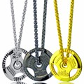 Train Hard or Go Home Barbell Pendant Dumbbell Stainless Steel Necklace Sporty Style Fitness Crossfit Gym Male Jewelry Wholesale