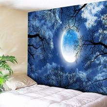 Moon Forest Tapestry Blue Home Decor Indian Wall Boho Paintings Bohemian Fabric for Carpets Sheet 200x150