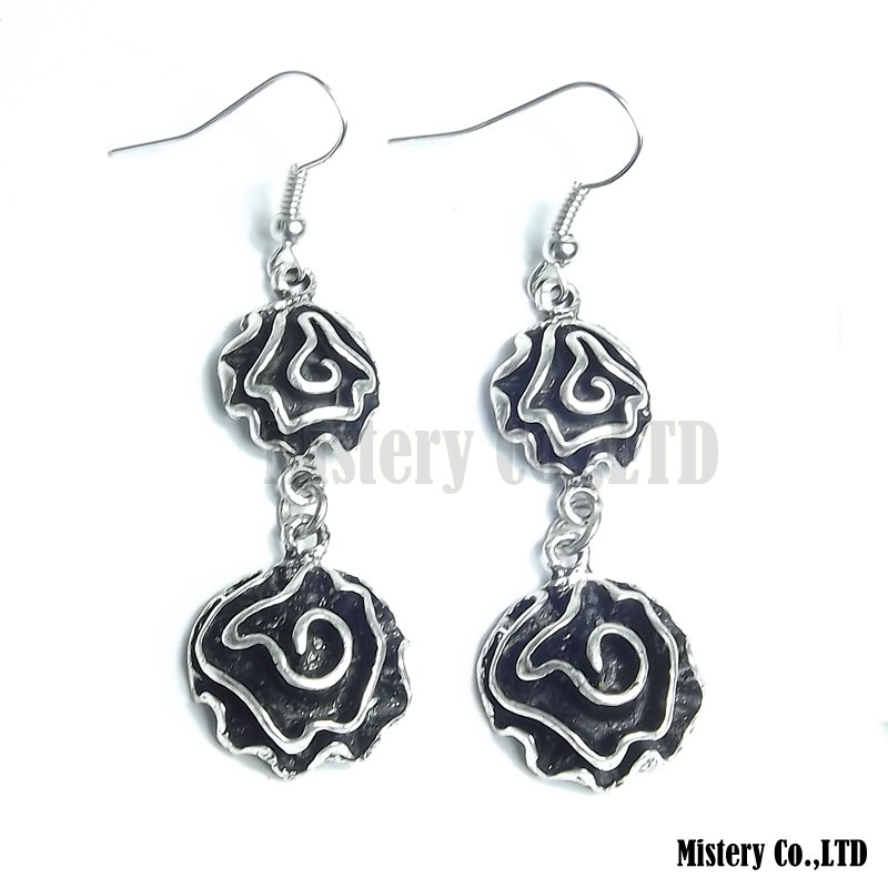 Antique Silver Color Carved Rose Flower Fashion Vintage Drop Dangle Earrings Wholesale Jewelry Jewellery Gift For Women Girls