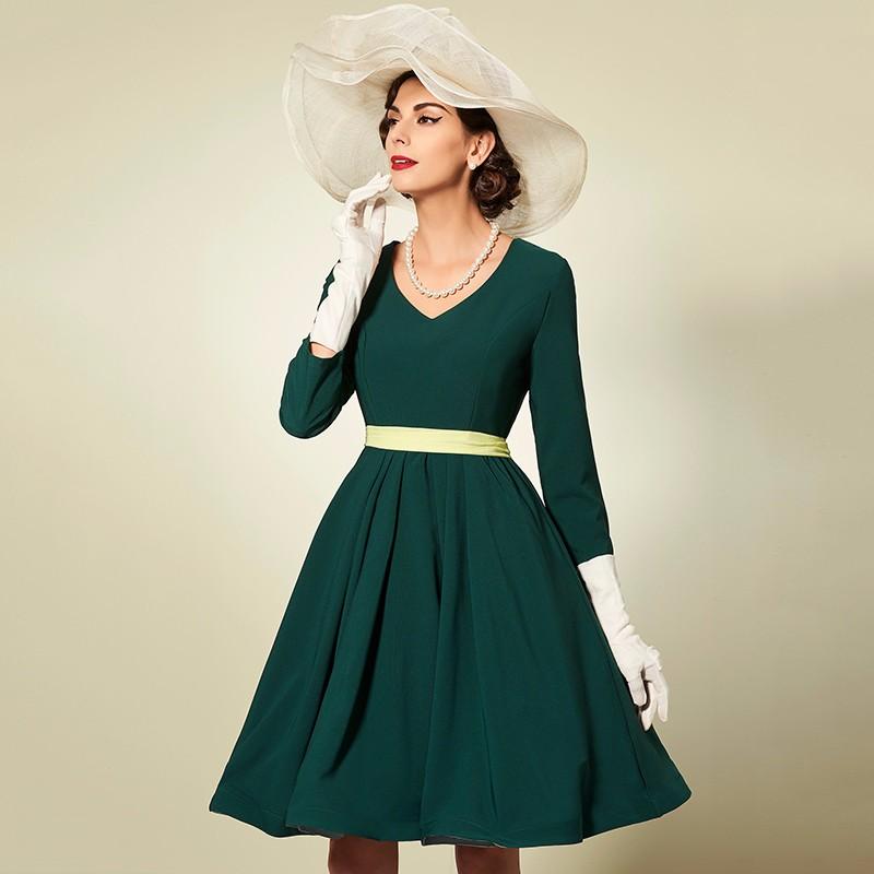96acced892d Sisjuly women party dress elegant green autumn dress long sleeve v ...