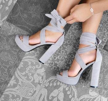 Grey Block Heeled Platform Sandals Women Designer Ankle Lace Up Chunky Heeled Sandals Women 2018 Peep Toe High Platform Shoes фото