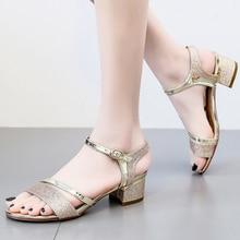 Luxury Silver Gold Sandals Women Block High Heel Pumps Shoes Strap Comfort Platform 2019 New Summer Wedding