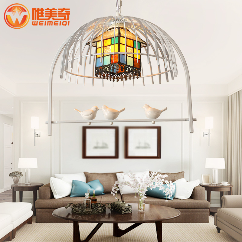 Nordic white iron bird cage pendant light coffee shop bar entrance hall restaurant hanging light lamp e27 pendant light hanging lamp iron bird cage modern light for home garden coffee room decoration