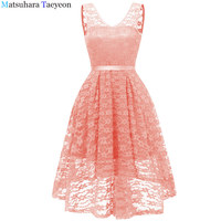 Ladies' lace and Tuxedo Dress Ever Pretty Elegant V neck High Waist Tea Length Fashionable Affordable Party Dresses for Women