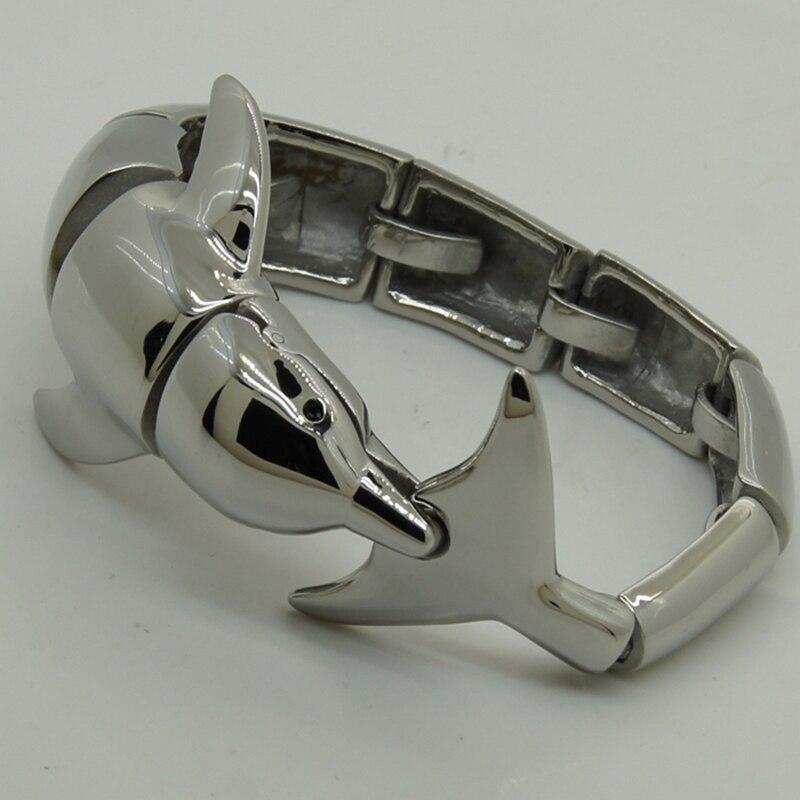 Amical extrêmement brillant dolphine 316L en acier inoxydable hommes/garçon vélo bracelet