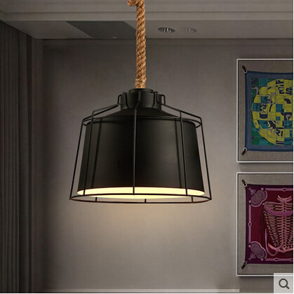 Hemp Rope Iron Vintage Pendant Lights Retro Lamp Industrial Hanging Lamp Fixtures For Home Lightings Cafe Bar Lamparas Colgantes modern creative design resin monkey loft vintage hemp rope pendant lights for home lighting bar cafe retro hanging pendant lamp