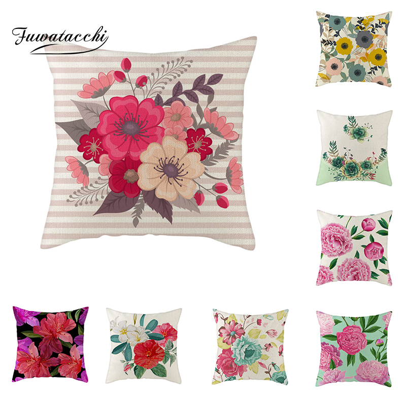 Fuwatacchi Chinese Ink Paintings Linen Cushion Cover Peony Rose Flower Sunflower Throw Pillow Cover Colorful Floral Pillowcases