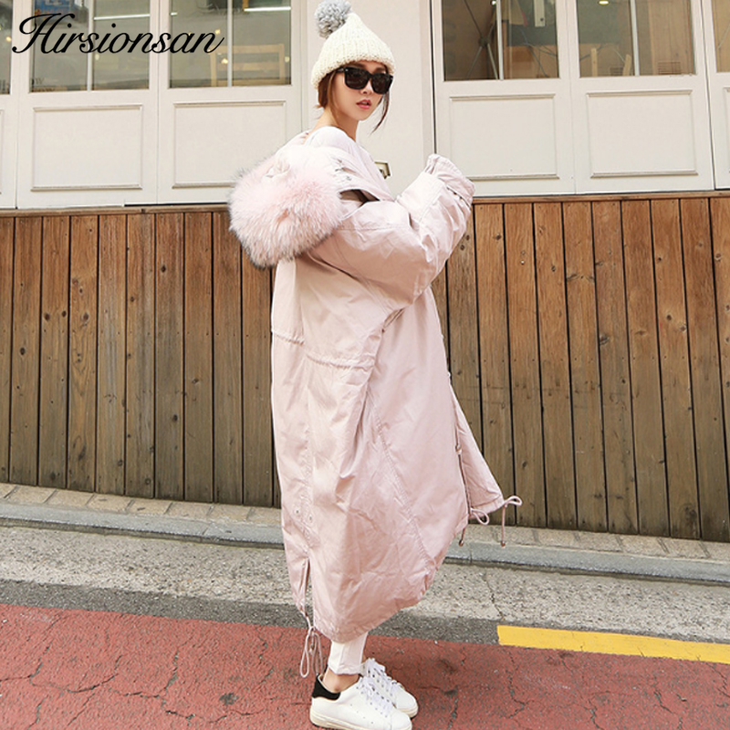 Hirsionsan 2017 Winter Jacket Women Korean Style Hooded Oversized Long Coat Parka Large Fur Warm Thicken Outwears Military Parka women lady thicken warm winter coat hood parka overcoat long outwear jacket