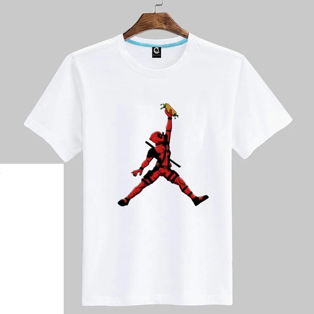 2018 deadpool jordan Tee T-shirt Man casual short sleeve t shirts 100%  cotton for fans
