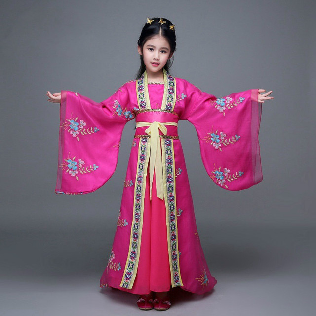 5414278d7a3e Girls Chinese Traditional Costume for Folk Dance Dress Kids Tang ...
