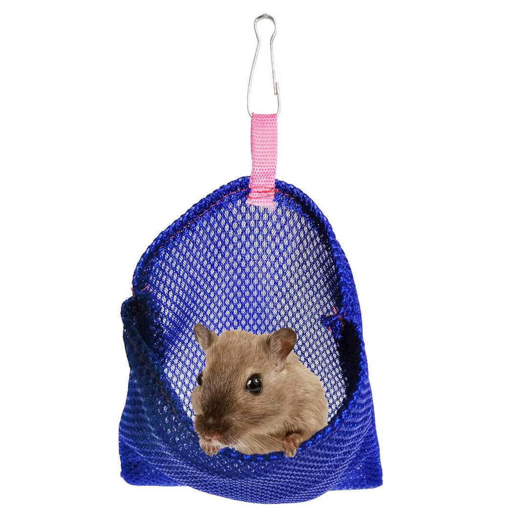 Warna Solid Bernapas Bisa Digantung Kecil Hewan Peliharaan Musim Panas Kantong Tidur Tempat Tidur Gantung Mesh Sarang Burung Di Tempat Tidur Gantung Mainan untuk Hamster Burung