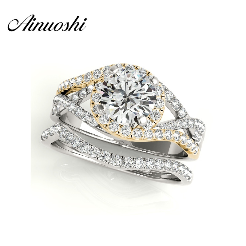 AINUOSHI 925 Sterling Silver Yellow Gold Color Ring Sets 1 Carat Round Cut Engagement Halo Bridal Ring Sets conjunto de anillo