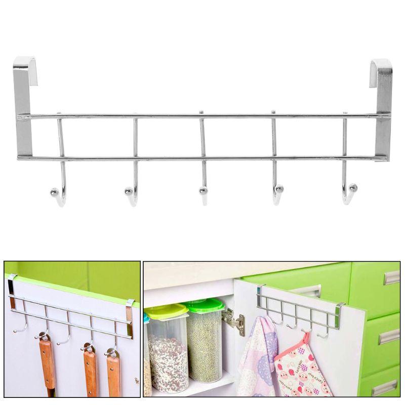 Hooks Shelf Over Door Clothing Hanger Rack Cabinet Door Loop Holder Shelf For Home Bathroom Kitchen
