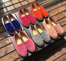 Women real leather Espadrilles shoes Chic suede slip-on loafers Comfort casual flat shoes EU35-41 size BY567
