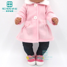 Clothes for doll fit 43cm Bald baby toy new born doll and american doll pink fur collar coat + trousers